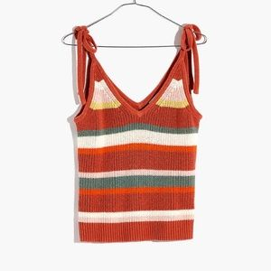 Madewell Striped Tie Strap Sweater Tank